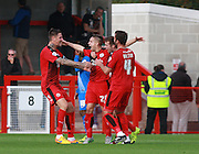 Crawley Town defender Mitch Hancox celebrates after scoring Crawley's second goal during the Sky Bet League 2 match between Crawley Town and Leyton Orient at the Checkatrade.com Stadium, Crawley, England on 10 October 2015. Photo by Bennett Dean.