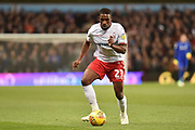 Nottingham Forest midfielder Tendayi Darikwa (27) sprints forward with the ball  during the EFL Sky Bet Championship match between Aston Villa and Nottingham Forest at Villa Park, Birmingham, England on 28 November 2018.