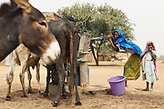 A woman uses a water pump in the village of Fadje, Chad on Friday February 10, 2012.