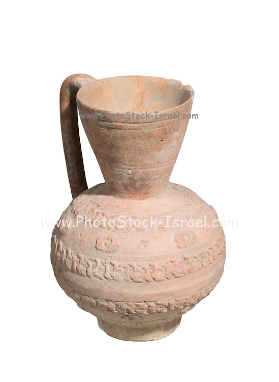 Islamic Terra-cotta ewer with Arabic inscription 7th-8th Century CE 19.2 cm high
