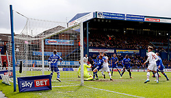 Adam Le Fondre of Bolton Wanderers watches as his header hits the woodwork - Mandatory by-line: Matt McNulty/JMP - 15/04/2017 - FOOTBALL - Boundary Park - Oldham, England - Oldham Athletic v Bolton Wanderers - Sky Bet League 1