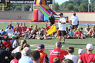 Former Cincinnati Bengal Jim Breech speaks during the All Pro Dad Father & Kids NFL Experience at Welcome Stadium, Saturday, June 18, 2016.