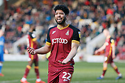 Bradford City defender Nat Knight-Percival (22) appeals against the award of a penalty to Peterborough during the EFL Sky Bet League 1 match between Bradford City and Peterborough United at the Northern Commercials Stadium, Bradford, England on 9 March 2019.