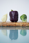 elephant garlic, lilac pepper, brussel sprout