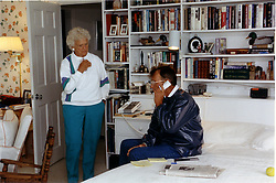 Kennebunkport, Maine - August 21, 1991 -- United States President George H.W. Bush talks with President Mikhail Gorbachev of the Union of Soviet Socialist Republics (U.S.S.R.) from his Kennebunkport, Maine home on August 21, 1991 concenring the end of the coup in the Soviet Union. First lady Barbara Bush listens. Photo by White House/ CNP/ABACAPRESS.COM