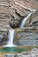 Twin Falls waterfall and pool in the Matilija Wilderness Area in Los Padres National Forest near Ojai, California.