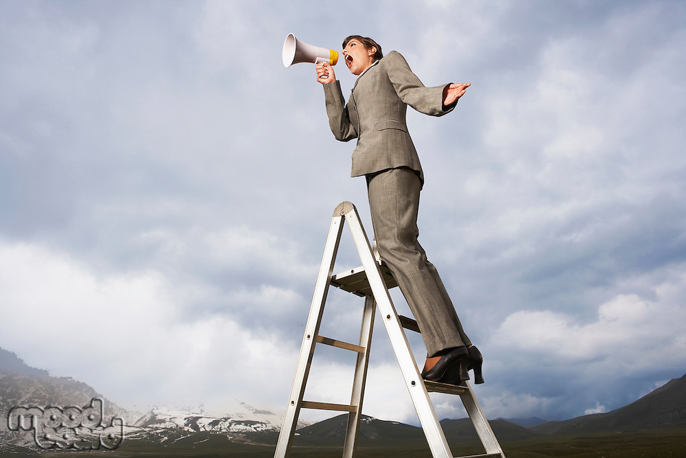 Businesswoman on ladder in mountain field shouting Through Megaphone low angle view