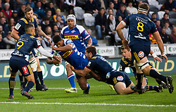 Stormers' Damian Willemse, centre, looks for the Highlanders' try line in the Super Rugby match, Forsyth Barr Stadium, Dunedin, New Zealand, Friday, March 9, 2018. Credit:SNPA / Adam Binns ** NO ARCHIVING**