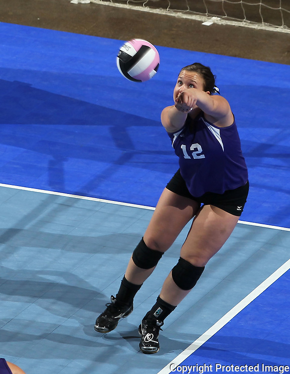 Stanton's Rochelle Sink (12) keeps her eyes on the ball during the second game of their 1A semifinal match in the state volleyball tournament at the U.S. Cellular Center at 370 1st Ave E on Friday evening, November 12, 2010. (Stephen Mally/Freelance)