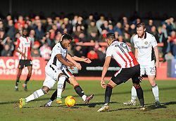 Mitch Rose of Newport County competes with Billy Waters of Cheltenham Town - Mandatory by-line: Nizaam Jones/JMP - 04/02/2017 - FOOTBALL - LCI Rail Stadium - Cheltenham, England - Cheltenham Town v Newport County - Sky Bet League Two