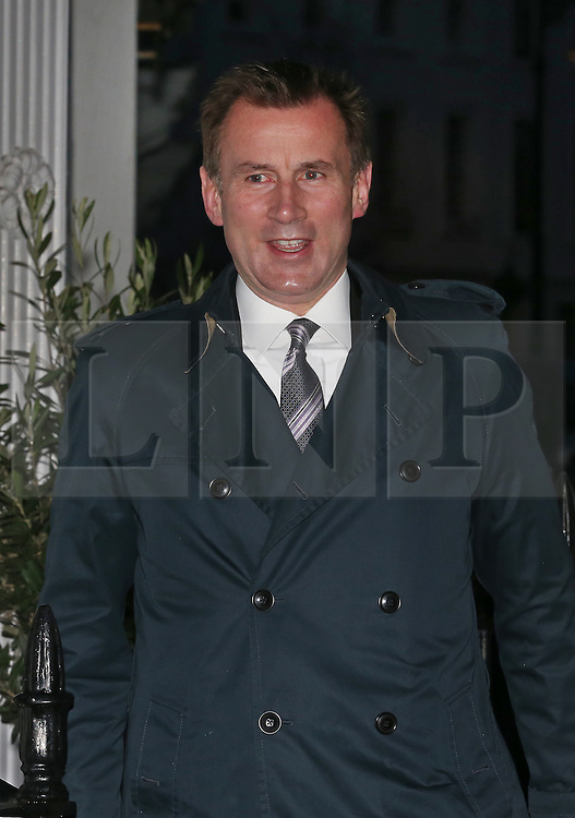 © Licensed to London News Pictures. 11/01/2016. London, UK. Health Secretary Jeremy Hunt leaves home. Junior doctors working in the National Health Service are due to strike tomorrow. Photo credit: Peter Macdiarmid/LNP