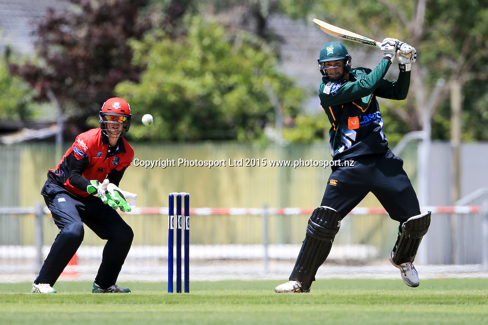 CD's Andrew Mathieson plays a shot. Ford Trophy cricket, Central Stags v Canterbury, McLean Park, Napier, New Zealand. Sunday 27 December, 2015. Copyright photo: John Cowpland / www.photosport.nz
