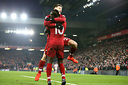 Liverpool striker Sadio Mane (10) celebrates his goal with Liverpool midfielder Adam Lallana (20) 4-2  during the Premier League match between Liverpool and Crystal Palace at Anfield, Liverpool, England on 19 January 2019.