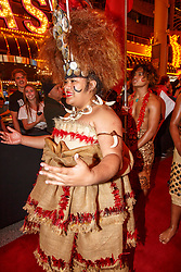 February 28, 2019 - U.S. - LAS VEGAS, NV - MARCH 01: Samoa put on a great show at the all nations parade the evening before the USA Rugby Sevens held March 1-3, 2019 at Sam Boyd Stadium in Las Vegas, NV. (Photo by Allan Hamilton/Icon Sportswire) (Credit Image: © Allan Hamilton/Icon SMI via ZUMA Press)