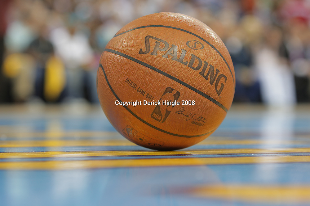 17 December 2008:  A basketball on the court during a timeout of the NBA regular season game between the Western Conference rivals the San Antonio Spurs and the New Orleans Hornets at the New Orleans Arena in New Orleans, LA..