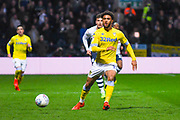 Tyler Roberts of Leeds United (11) in action during the EFL Sky Bet Championship match between Preston North End and Leeds United at Deepdale, Preston, England on 9 April 2019.