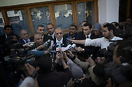 EGYPT, Cairo : Mohammed Badie, the head of Egypt's Muslim Brotherhood speaks to the press outside a polling station in Cairo after casting his vote on March 19, 2011 as voters got their first taste of democracy in a referendum to a package of constitutional changes after president Hosni Mubarak was forced to relinquish his 30-year grip on power last month in the face of mass street protests. ALESSIO ROMENZI
