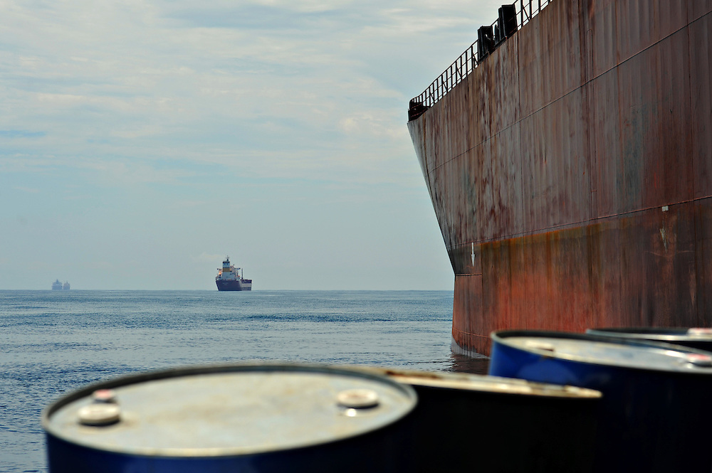 11-10-12 -   LOME, TOGO -  Vessels in the Lomé anchorage in Togo, West Africa on October 12, 2011. The threat of piracy in neighbouring Benin has prompted ships to seek safer anchorage in Togolese waters, however many are concerned that pirates will follow the vessels.  Photo by Daniel Hayduk