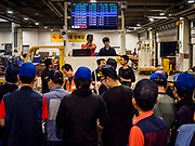 07 JUNE 2018 - SEOUL, SOUTH KOREA:  A wholesale auction in the Noryangjin Fish Market. The auctions start about 01.00 AM and last until 05.00 AM. Noryangjin Fish Market is the largest fish market in Seoul and has been in operation since 1927. It opened in the current location in 1971 and was renovated in 2015. The market serves both retail and wholesale customers and has become a tourist attraction in recent years.     PHOTO BY JACK KURTZ