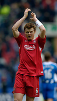 Photo: Jed Wee.<br />Wigan Athletic v Liverpool. The Barclays Premiership. 11/02/2006.<br />Liverpool's John Arne Riise applauds the fans at the end of the game.
