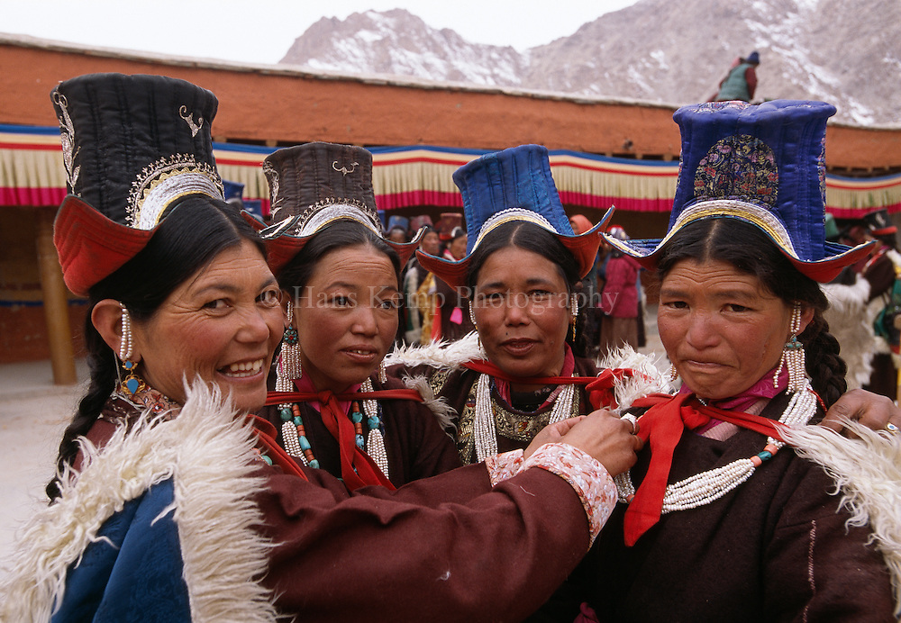 A group of women dressed in their finest at Matho monastery