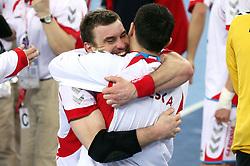 Team of Poland (Bartosz Jurecki (13) of Poland)  celebrates after winning the 21st Men's World Handball Championship 2009 Bronze medal match between National teams of Poland and Denmark, on February 1, 2009, in Arena Zagreb, Zagreb, Croatia.  Won of Poland 31:23. (Photo by Vid Ponikvar / Sportida)