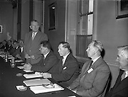 20/05/1959<br /> 05/20/1959<br /> 20 May 1959<br /> F.A.O. (Food and Agriculture Organisation) Co-Operative Research Project on Trace Elements meeting at the RDS, Ballsbridge, Dublin. Picture shows the Minister for agriculture, Mr. Patrick Smith speaking at the opening of the meeting. Also in the picture are (from left) Dr. T. Walsh (Director of the Agricultural Institute), Chairman; Mr. John Beatty, Chief Inspector, Department of Agriculture and Dr V. Ignatieff, Soil Survey Fertility Branch, Land and Water Development Division, F.A.O., Rome.
