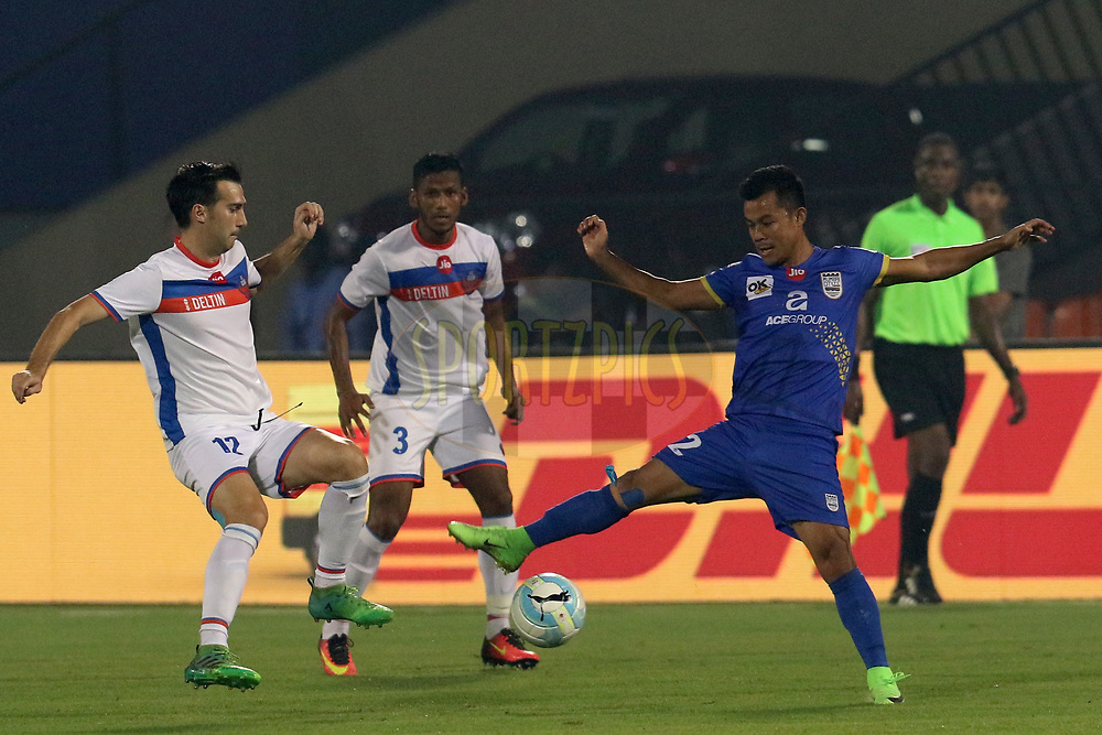 Sanju Pradhan of Mumbai City FC  in action during match 8 of the Hero Indian Super League between Mumbai City FC and FC Goa held at the Mumbai Football Arena, Mumbai India on the 25th November 2017<br /> <br /> Photo by: Faheem Hussain / ISL / SPORTZPICS