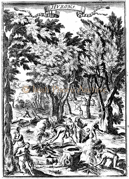 North American Huron Indians of what is now Virginia, hunting and preparing food in woodland. From Allain Manesson Mallet 'Description de l'Universe ..', Frankfurt-am-Main, 1686. Copperplate engraving