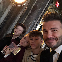 """David Beckham releases a photo on Instagram with the following caption: """"Show day... Proud of mummy @victoriabeckham @romeobeckham @cruzbeckham #harperseven we miss you @brooklynbeckham"""". Photo Credit: Instagram *** No USA Distribution *** For Editorial Use Only *** Not to be Published in Books or Photo Books ***  Please note: Fees charged by the agency are for the agency's services only, and do not, nor are they intended to, convey to the user any ownership of Copyright or License in the material. The agency does not claim any ownership including but not limited to Copyright or License in the attached material. By publishing this material you expressly agree to indemnify and to hold the agency and its directors, shareholders and employees harmless from any loss, claims, damages, demands, expenses (including legal fees), or any causes of action or allegation against the agency arising out of or connected in any way with publication of the material."""