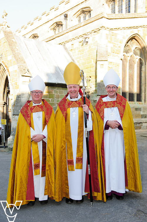 A service of welcome for The Venerable Gavin Kirk, Archdeacon of Lincoln at St Mary's Church in Horncastle.  From left, The Right Reverend David Court (Bishop of Grimsby), The Right Reverend Christopher Lowson (Bishop of Lincoln) and The Right Reverend Nicholas Chamberlain (Bishop of Grantham)<br /> <br /> Picture: Chris Vaughan/Chris Vaughan Photography<br /> Date: June 5, 2016