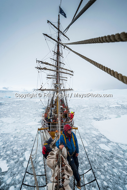 Antarctica, February 2016. tries to advance close to the coast between mainland and the glaciated Darboux Island encountering large sheets of pack ice, struggling to find leads between narrow passages. Dutch Tallship, Bark Europa, explores Antarctica during a 25 day sailing expedition. Photo by Frits Meyst / MeystPhoto.com