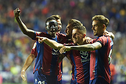May 13, 2018 - Valencia, Valencia, Spain - Levante UD players celebrates a goal during the La Liga match between Levante and FC Barcelona, at Ciutat de Valencia Stadium, on may 13, 2018  (Credit Image: © Maria Jose Segovia/NurPhoto via ZUMA Press)