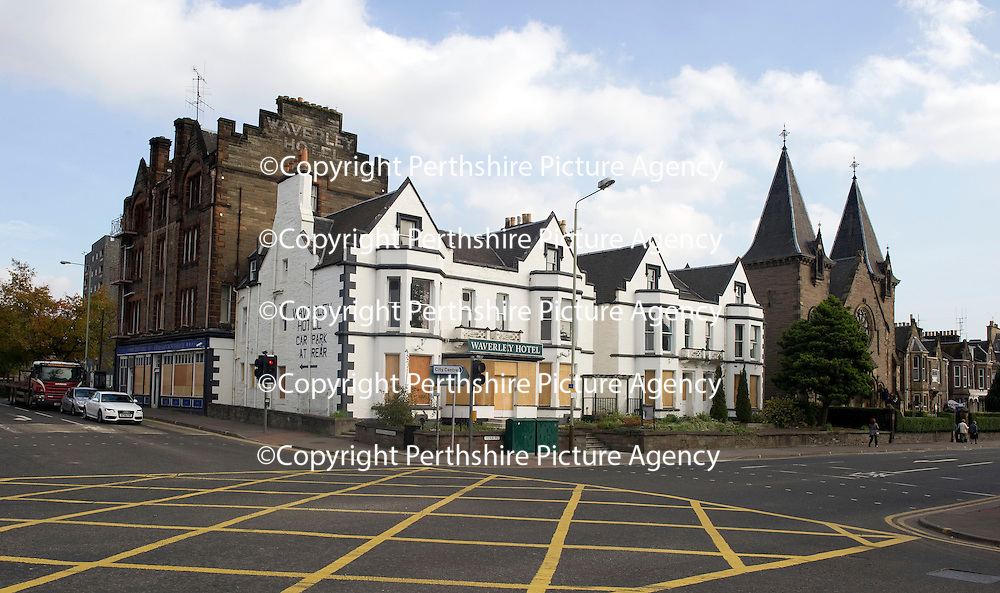 The Waverley Hotel all boarded up after being bought by Brian Souter and Ann Gloag.<br /> Picture by Graeme Hart.<br /> Copyright Perthshire Picture Agency<br /> Tel: 01738 623350  Mobile: 07990 594431