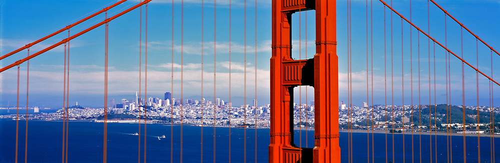 The Golden Gate Bridge acts as a frame for the city of San Francisco in California.
