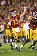 University of Southern California Trojan quarterback Matt Leinart passes the ball during a 70 to 17 win over the Arkansas Razorbacks on September 17, 2005 at Los Angeles Memorial Coliseum in Los Angeles, California..Mandatory Credit: Wesley Hitt/Icon SMI