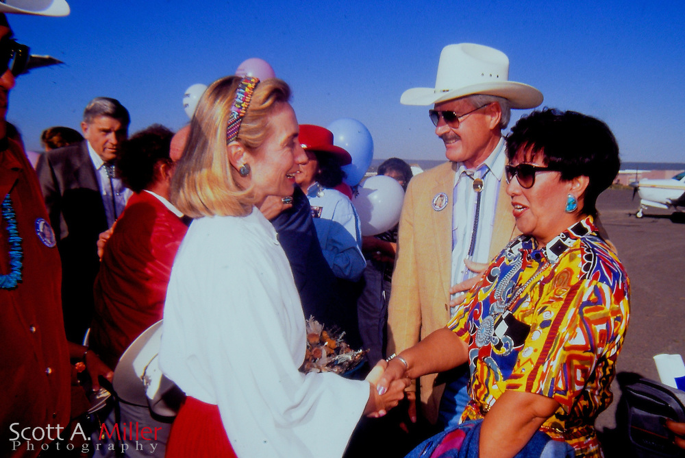 Hillary Clinton campaigning for her husband Bill Clinton (not pictured) during the 1992 Presidential Campaign on Sept 18, 1992 in Gallup, New Mexico. Bill Clinton went on to defeat George H. Bush for the Presidency.<br /> <br /> ZUMA Press/Scott A. Miller