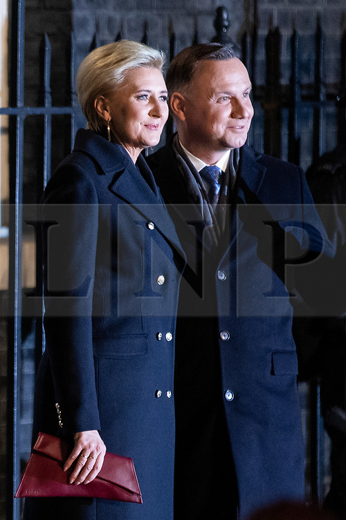 © Licensed to London News Pictures. 03/12/2019. London, UK.  Andrzej Duda, President of Poland and his wife, Agata Kornhauser-Duda arrive at 10 Downing Street for a reception hosted by UK Prime Minister Boris Johnson. International leaders are visiting the UK for to mark the 70th anniversary of the North Atlantic Treaty Organisation (NATO) Photo credit : Tom Nicholson/LNP