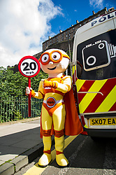 Pictured: The Reducer<br /> Councillor Lesley Hinds, transport convener for Edinburgh City Council, joined The Reducer at the launch of the new speed limit, which sees a maximum speed of 20mph in the city centre and rural west of the city from July 31<br /> <br /> Ger Harley | EEm 27 July 2016
