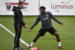 October 2, 2017 - Tubize, BELGIUM - Belgium's assistant coach Graeme Jones and Belgium's Michy Batshuayi pictured during a training of Belgian national soccer team Red Devils, Monday 02 October 2017 in Tubize. The Red Devils will play a World Championships 2018 Qualification game against Bosnia on October 7th and against Cyprus on October 10th. BELGA PHOTO DIRK WAEM (Credit Image: © Dirk Waem/Belga via ZUMA Press)