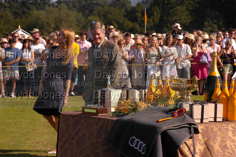the The Duchess of York and the Managing Director of Veuve Clicquot David Myers ( ? spelling) . Veuve Clicquot Gold Cup Final at Cowdray Park. Midhurst. 17 July 2005. ONE TIME USE ONLY - DO NOT ARCHIVE  © Copyright Photograph by Dafydd Jones 66 Stockwell Park Rd. London SW9 0DA Tel 020 7733 0108 www.dafjones.com