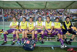 Players of Maribor Dragan Jelic, Dejan Mezga, Dejan Skolnik, Matjaz Lunder, David Bunderla, Zeljko Kljajevic and Matej Radan before Third Round of Champions League qualifications football match between NK Maribor and FC Zurich,  on August 05, 2009, in Ljudski vrt , Maribor, Slovenia. Zurich won 3:0 and qualified to next Round. (Photo by Vid Ponikvar / Sportida)