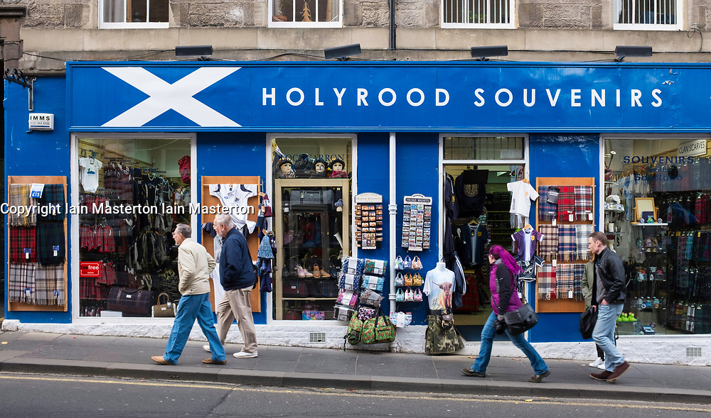 Exterior of typical tourist souvenir shop on the Royal Mile in Edinburgh , Scotland, United Kingdom.
