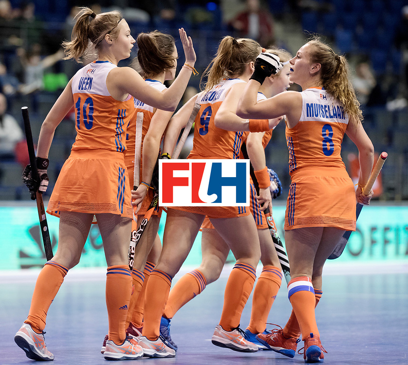 BERLIN - Indoor Hockey World Cup<br /> Women: Poland - Netherlands<br /> foto: The Netherlands celebrate.<br /> WORLDSPORTPICS COPYRIGHT FRANK UIJLENBROEK