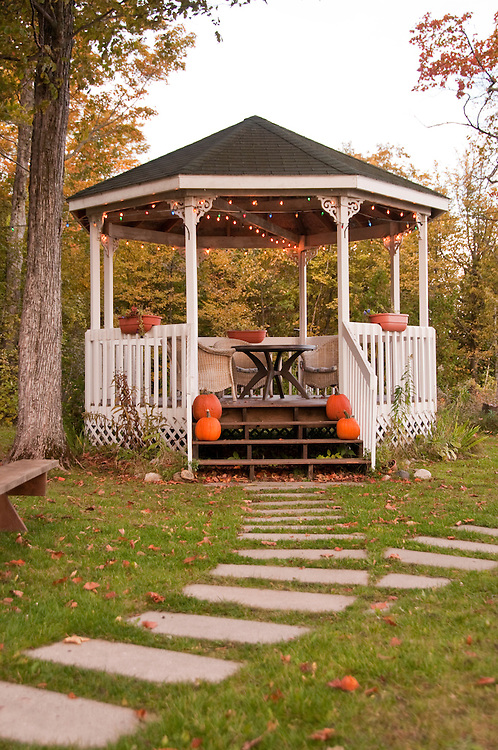 Chamberlin's Ole Forest Inn on Big Manistique Lake near Curtis Michigan in autumn.
