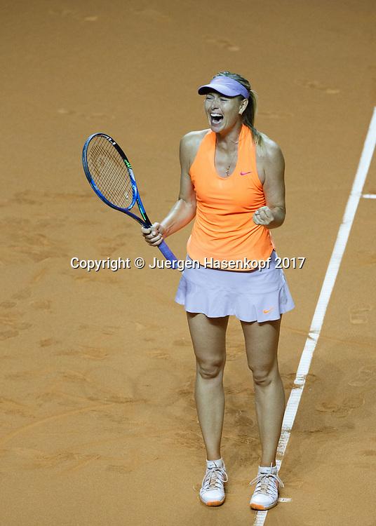 MARIA SHARAPOVA (RUS) macht die Faust und jubelt, Jubel,Emotion<br /> <br /> Tennis - Porsche  Tennis Grand Prix 2017 -  WTA -  Porsche-Arena - Stuttgart -  - Germany  - 26 April 2017.
