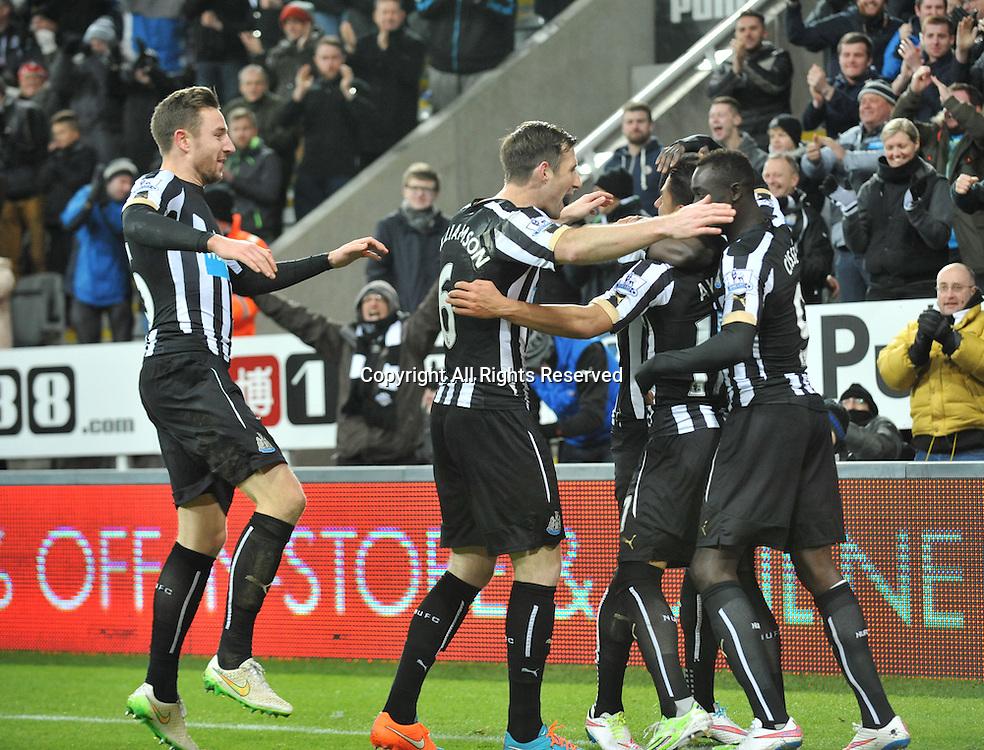 28.12.2014. Newcastle, England. Premier League. Newcastle versus Everton. Ayoze Perez of Newcastle United celebrates scoring