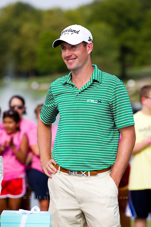 Chris Wilson smiles during the awards ceremony after the final round of the 2012 Price Cutter Charity Championship at Highland Springs Country Club on August 12, 2012 in Springfield, Missouri. (David Welker/www.TurfImages.com).