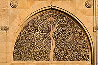 Inde, Etat de Gujarat, Ahmedabad, classé Patrimoine Mondial de l'UNESCO, mosquée de Siddi Sayid, détail d'une Jali, dentelles de pierre en forme d'arbre de vie // India, Gujarat, Ahmedabad, Unesco World Heritage city, tree of life window of Siddi Sayid mosque
