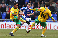 Oldham - Saturday February 26th, 2010 :  Korey Smith and Wes Hoolahan of Norwich in action during the Coca Cola League One match at Boundary Park, Oldham. (Pic by Paul Chesterton/Focus Images)..
